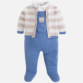 Mayoral ベビー男の子用オーバーオール3点セット/Baby boy set of overalls and knit cardigan
