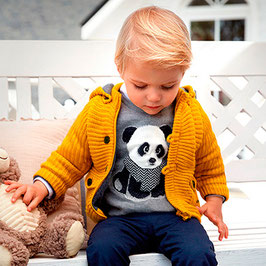 Mayoral 男の子用イエローニットジャケット/Baby boy knit jacket with hood