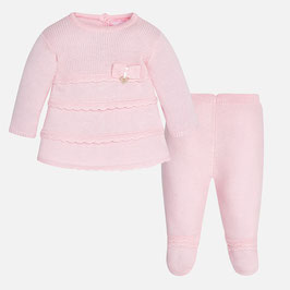 Mayoral ベビー女の子用ニット上下セット ライトピンク/Baby girl knit set with footed trousers light pink