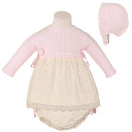 Miranda ベビードレス、ボンネット、パンツ付き/Baby girl dress with hat and pants pink