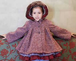 Miranda エレガントな女の子用ファーフレアコート/ Elegant Girls Coat with hood and faux fur red