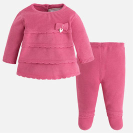 Mayoral ベビー女の子用ニット上下セットピンク/Baby girl knit set with footed trousers Pink