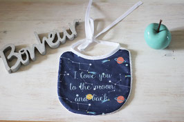 "Bavoir motif constellations: ""I love you to the moon and back"""