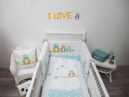 Tour de lit bébé jaune et turquoise motif chouettes