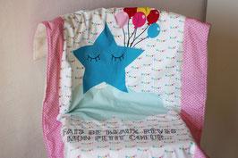 """Couverture bébé motif """"étoile et fanions"""""""
