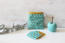 Lot de 10 lingettes démaquillantes lavables et leur pochon motif géométrique