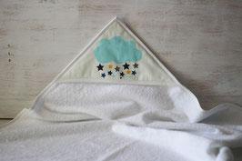 cape de bain motif nuage et étoiles
