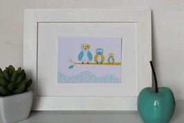 Carte postale famille Chouettes jaunes et bleues
