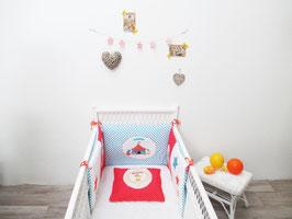 Tour de lit bébé rouge et blanc thème le cirque