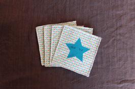 lot de 4 lingettes étoile et fanions