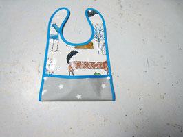 Bavoir toile cirée grise et bleu avec système de récupération