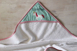 cape de bain motif licorne