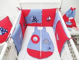 Tour de lit bébé rouge et bleu thème marin
