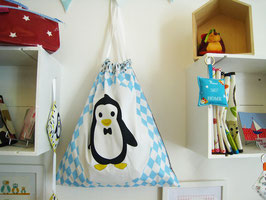 Sac à linge gris et bleu papa pingouin