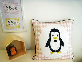 Housse de coussin chambre bébé 40 x 40 cm rose et gris motif  pingouin