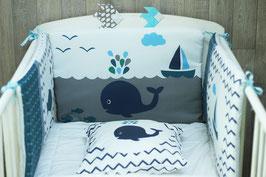 Tour de lit bébé Bleu, gris et blanc Baleine