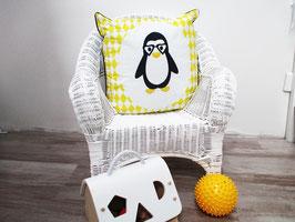 Housse de coussin chambre bébé 40 x 40 cm jaune et gris motif  pingouin - Réservé Liste Marisa et Pierre-Yves
