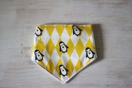 Bandana bavoir jaune et blanc pingouin