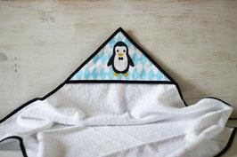 cape de bain motif pingouin bleu
