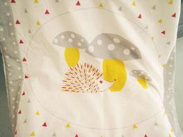 """Couverture bébé motif """"Hérisson"""" gris"""