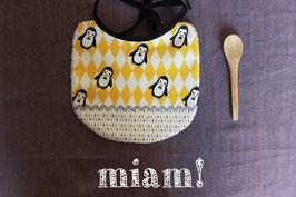 bavoir pingouin jaune