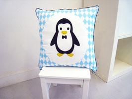 Housse de coussin chambre bébé 40 x 40 cm bleu et gris motif  pingouin