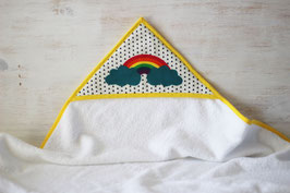 cape de bain motif arc en ciel et triangles noirs