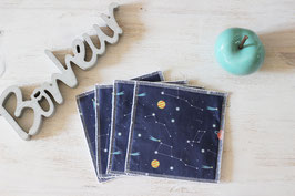 lot de 4 lingettes lavables constellations