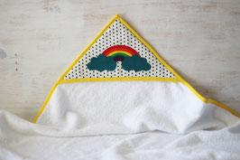 Cape de bain motif arc en ciel et triangles noirs - Réservé liste Sonia et Ludovic