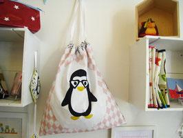 Sac à linge gris et rose maman pingouin