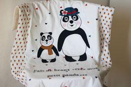 """Couverture bébé motif """"panda"""" - Réservé Liste Marisa et Pierre-Yves"""