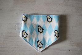 Bandana bavoir bleu et blanc pingouin