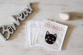 lot de 4 lingettes lavables chat noir sur fond blanc
