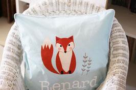Housse de coussin chambre bébé 40 x 40 cm bleue et blanche motif renard