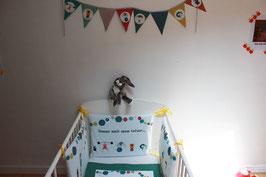 """Tour de lit bébé """"Circus"""" - Réservé à la liste de naissance de Titouan (Gabrielle et Manuel)"""
