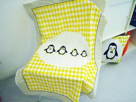 """Couverture bébé motif """"Pingouins"""""""