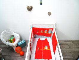 Tour de lit bébé orange et turquoise motif chouettes (RÉSERVÉ LISTE LAURENCE)