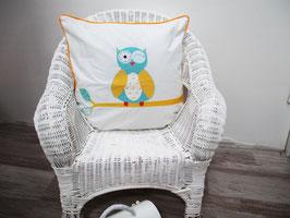 Housse de coussin chambre bébé 40 x 40 cm  motif  chouette