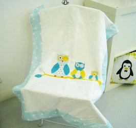 """Couverture bébé motif """"Chouettes"""""""