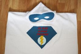 """Poncho de bain super héros bleu """"Je suis super propre"""""""