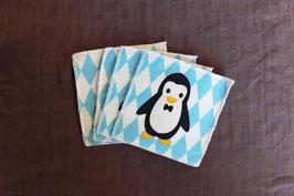 lot de 4 lingettes pingouin bleu