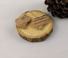 Boucles d'oreilles en bois : coeurs Zébrano
