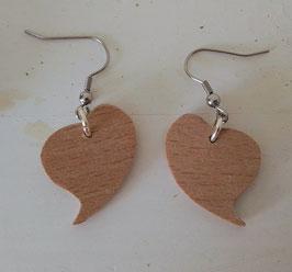 Boucles d'oreilles en bois, coeur en hêtre