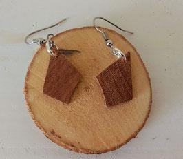 Boucles d'oreilles en bois : losanges makoré brut