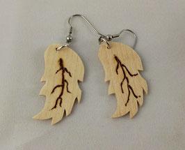 Boucles d'oreilles en bois : feuilles sycomore