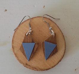 Boucles d'oreilles en bois losanges noyer /simili bleu