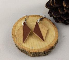 Boucles d'oreilles en bois : losanges ariégré/simili marron