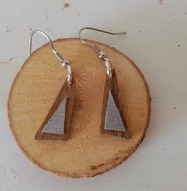 Boucles d'oreilles en bois : les triangles makoré/argent