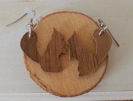 Boucles d'oreilles en bois : les écureuils en noyer