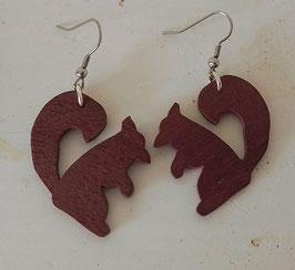 Boucles d'oreilles en bois : écureuils en acajou